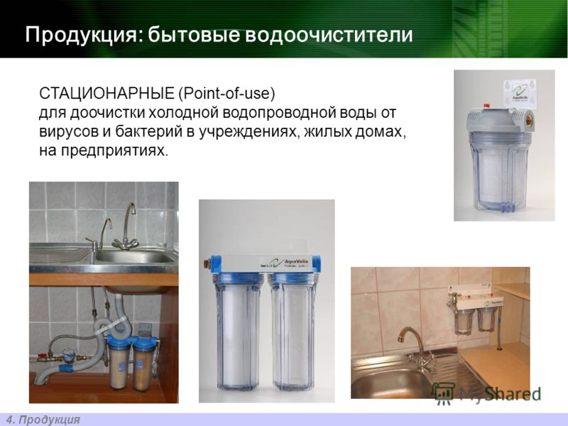 Продукция: бытовые водоочистители 4. Продукция СТАЦИОНАРНЫЕ (Point-of-use) для доочистки холодной водопроводной воды от вирусов и бактерий в учреждениях, жилых домах, на предприятиях.