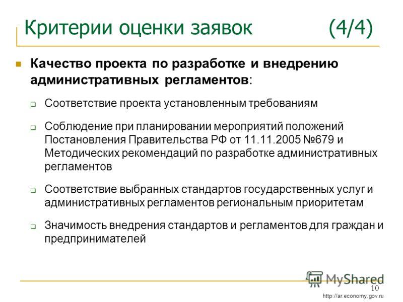 http://ar.economy.gov.ru 10 Критерии оценки заявок (4/4) Качество проекта по разработке и внедрению административных регламентов: Соответствие проекта установленным требованиям Соблюдение при планировании мероприятий положений Постановления Правитель