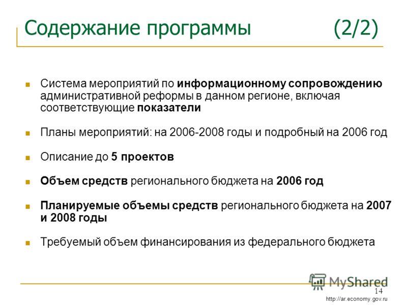 http://ar.economy.gov.ru 14 Содержание программы (2/2) Система мероприятий по информационному сопровождению административной реформы в данном регионе, включая соответствующие показатели Планы мероприятий: на 2006-2008 годы и подробный на 2006 год Опи