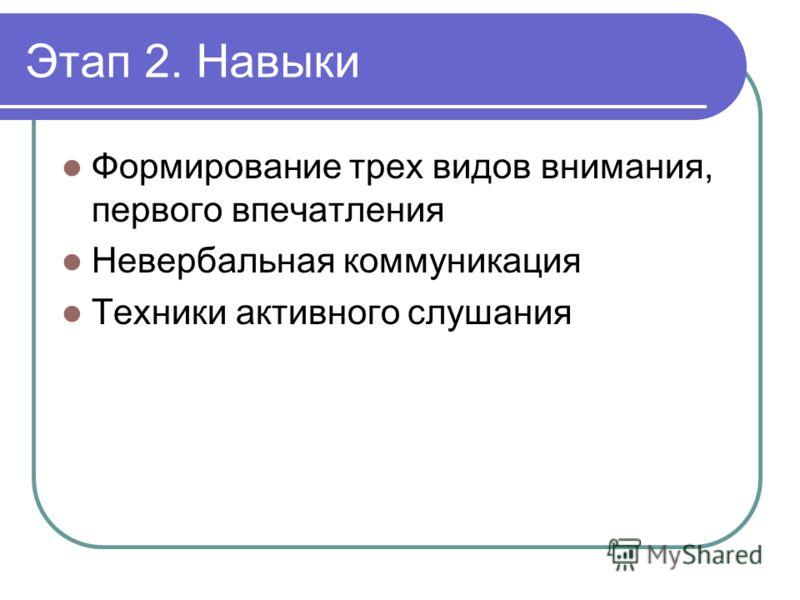 Этап 2. Навыки Формирование трех видов внимания, первого впечатления Невербальная коммуникация Техники активного слушания