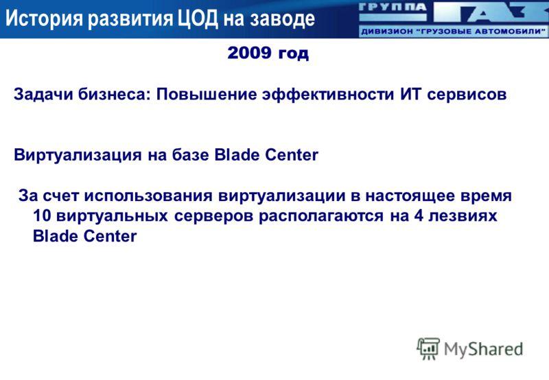 2009 год Задачи бизнеса: Повышение эффективности ИТ сервисов Виртуализация на базе Blade Center За счет использования виртуализации в настоящее время 10 виртуальных серверов располагаются на 4 лезвиях Blade Center История развития ЦОД на заводе