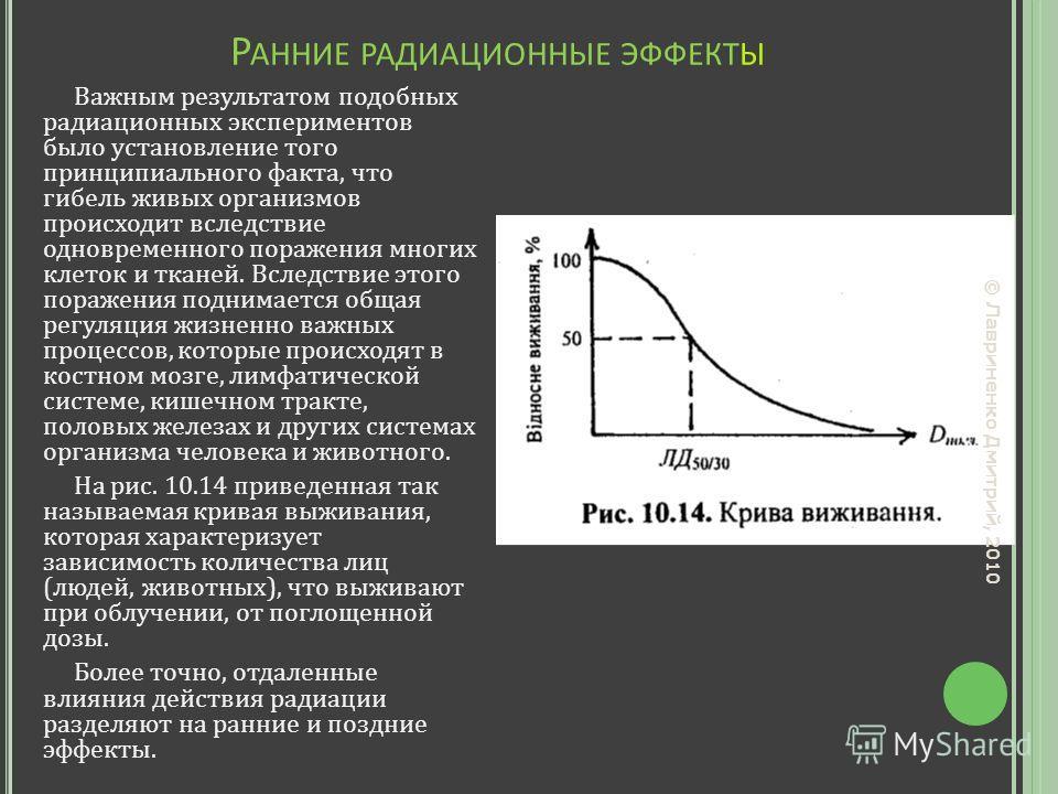 Р АННИЕ РАДИАЦИОННЫЕ ЭФФЕКТЫ Важным результатом подобных радиационных экспериментов было установление того принципиального факта, что гибель живых организмов происходит вследствие одновременного поражения многих клеток и тканей. Вследствие этого пора