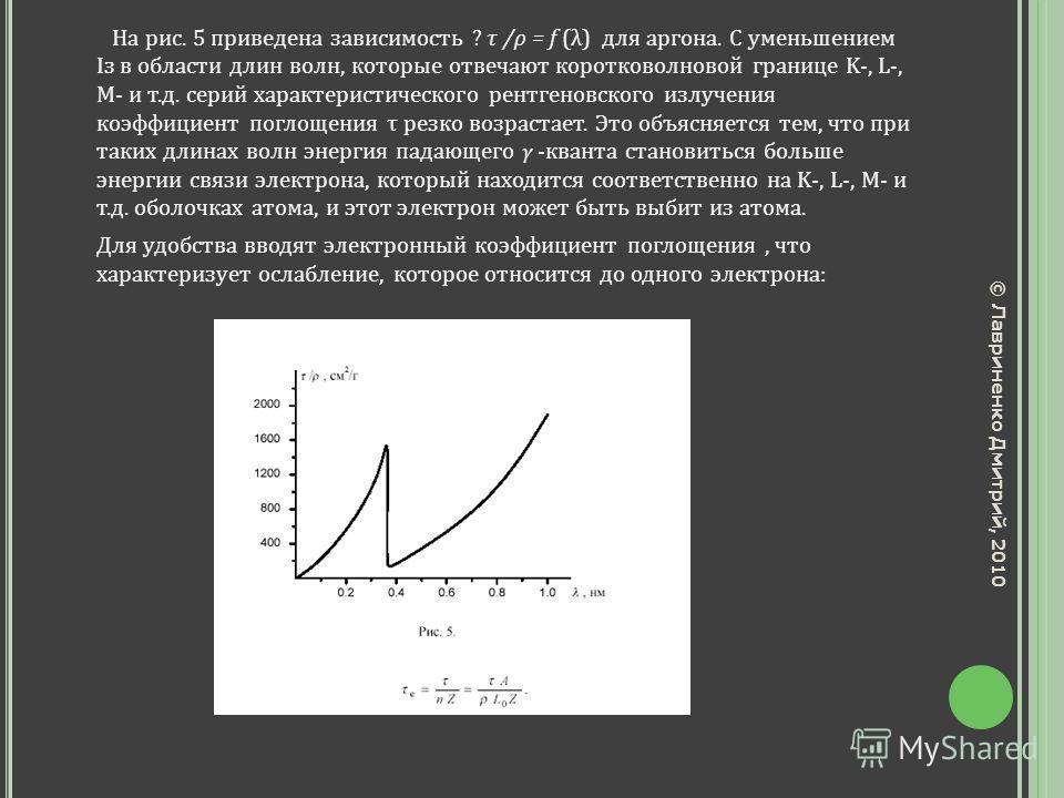 На рис. 5 приведена зависимость ? τ /ρ = f (λ) для аргона. С уменьшением Із в области длин волн, которые отвечают коротковолновой границе K-, L-, M- и т.д. серий характеристического рентгеновского излучения коэффициент поглощения τ резко возрастает.