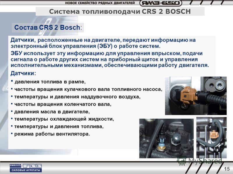 15 Датчики, расположенные на двигателе, передают информацию на электронный блок управления (ЭБУ) о работе систем. ЭБУ использует эту информацию для управления впрыском, подачи сигнала о работе других систем на приборный щиток и управления исполнитель