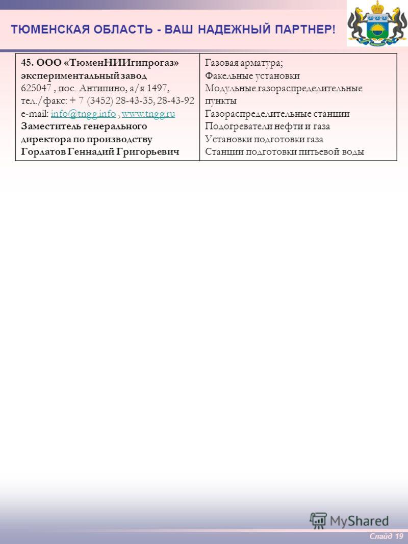 Слайд 18 ТЮМЕНСКАЯ ОБЛАСТЬ - ВАШ НАДЕЖНЫЙ ПАРТНЕР! 41. ЗАО «Кедр-Маркетинг» 627100, Тюменская область, г. Заводоуковск, ул.Заводская, д.1, тел./факс: + 7 (34542) 212-04 Генеральный директор – Рябов Андрей Анатольевич Плашки к спайдеру 42. ЗАО «Тюмень