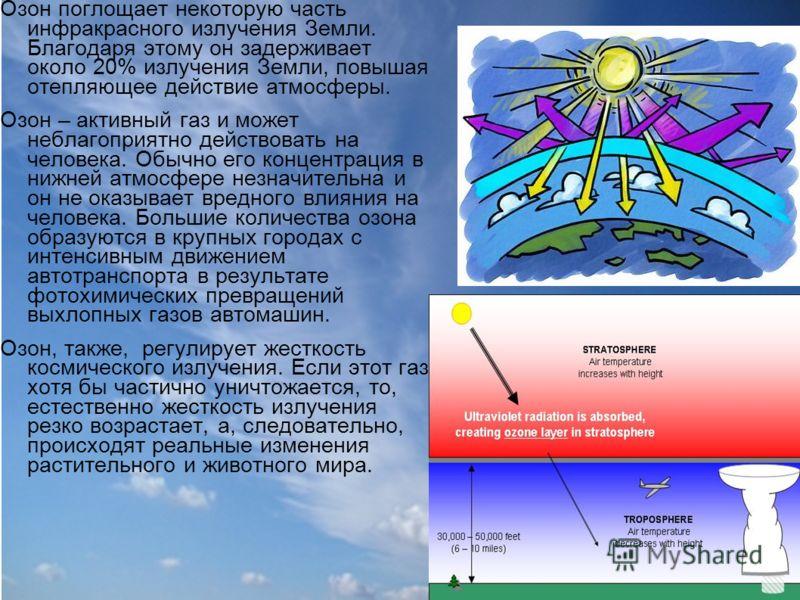 Озон поглощает некоторую часть инфракрасного излучения Земли. Благодаря этому он задерживает около 20% излучения Земли, повышая отепляющее действие атмосферы. Озон – активный газ и может неблагоприятно действовать на человека. Обычно его концентрация