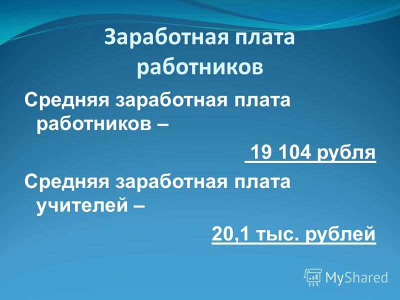 Заработная плата работников Средняя заработная плата работников – 19 104 рубля Средняя заработная плата учителей – 20,1 тыс. рублей