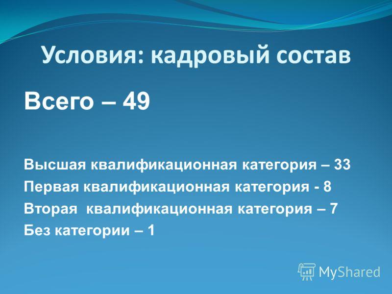 Условия: кадровый состав Всего – 49 Высшая квалификационная категория – 33 Первая квалификационная категория - 8 Вторая квалификационная категория – 7 Без категории – 1