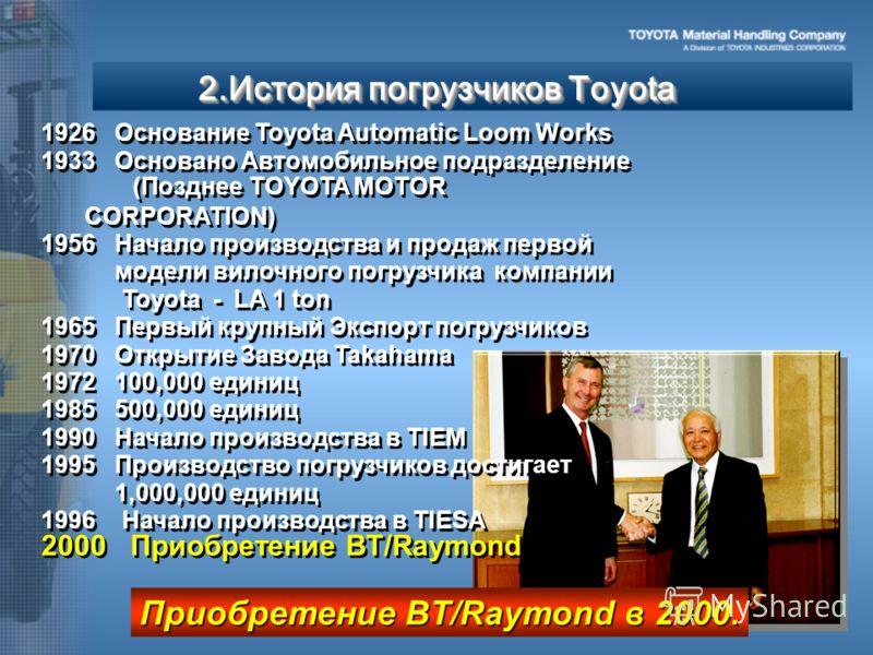1926 1926 Основание Toyota Automatic Loom Works 1933 Основано Автомобильное подразделение (Позднее TOYOTA MOTOR CORPORATION) 1956 1956 Начало производства и продаж первой модели вилочного погрузчика компании Toyota - LA 1 ton 1965 Первый крупный Эксп