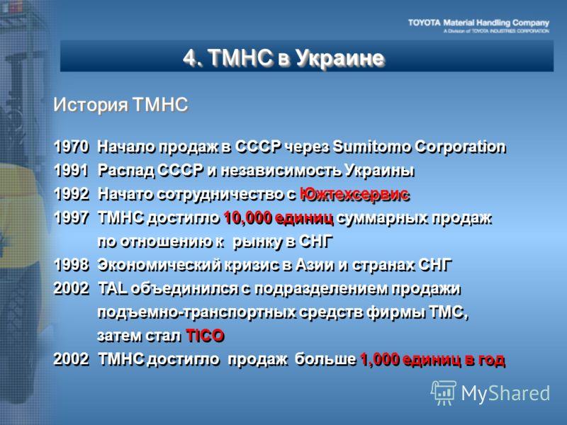 4. TMHC в Украине 1970 1970 Начало продаж в СССР через Sumitomo Corporation 1991 Распад СССР и независимость Украины Южтехсервис 1992 Начато сотрудничество с Южтехсервис 1997 1997 TMHC достигло 10,000 единиц суммарных продаж по отношению к рынку в СН
