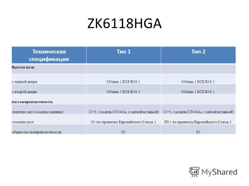 ZK6118HGA Техническая спецификация Тип 1Тип 2 Высота пола у первой двери 360mm ECE R36 у второй двери 360mm ECE R36 пассажировместимость сидячих мест (модель сидения)22+1, (модель CT440A, с мягкой вставкой) стоячих мест 63 (по правилам Европейского С