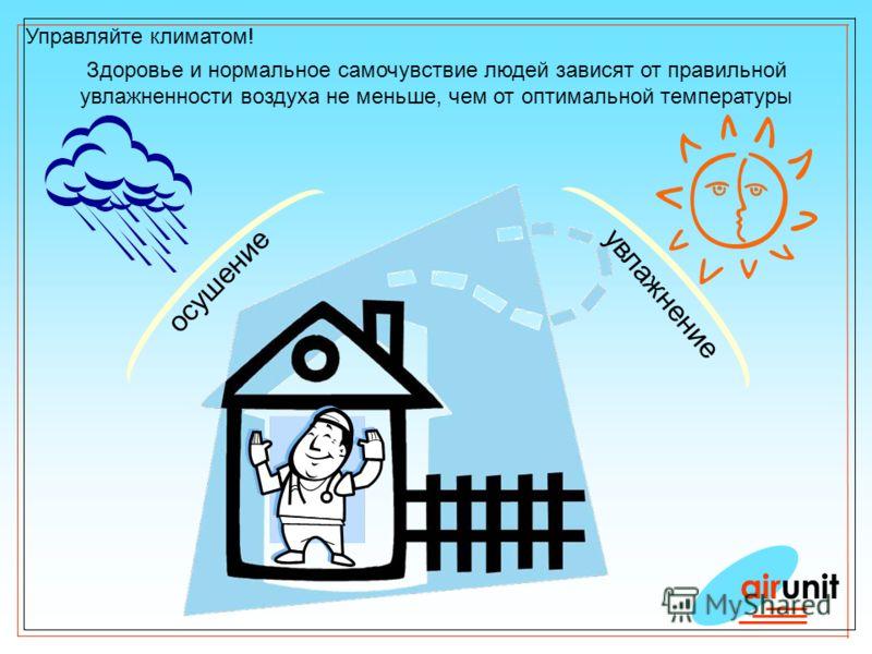 Управляйте климатом! airunit Здоровье и нормальное самочувствие людей зависят от правильной увлажненности воздуха не меньше, чем от оптимальной температуры осушение увлажнение