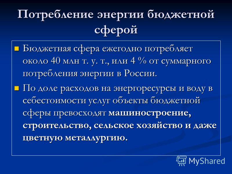 Потребление энергии бюджетной сферой Бюджетная сфера ежегодно потребляет около 40 млн т. у. т., или 4 % от суммарного потребления энергии в России. Бюджетная сфера ежегодно потребляет около 40 млн т. у. т., или 4 % от суммарного потребления энергии в