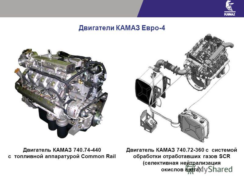 Двигатели КАМАЗ Евро-4 Двигатель КАМАЗ 740.72-360 с системой обработки отработавших газов SCR (селективная нейтрализация окислов азота). Двигатель КАМАЗ 740.74-440 с топливной аппаратурой Common Rail