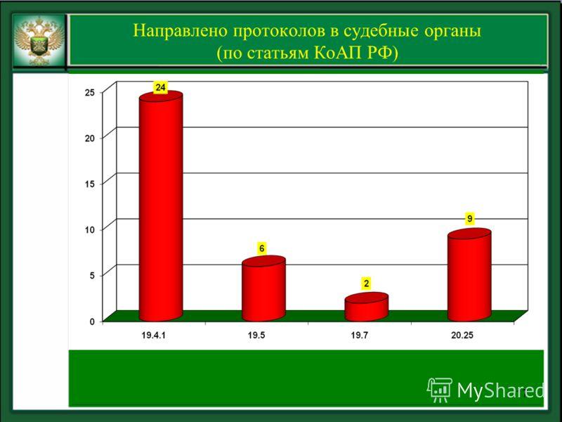 Направлено протоколов в судебные органы (по статьям КоАП РФ) 17