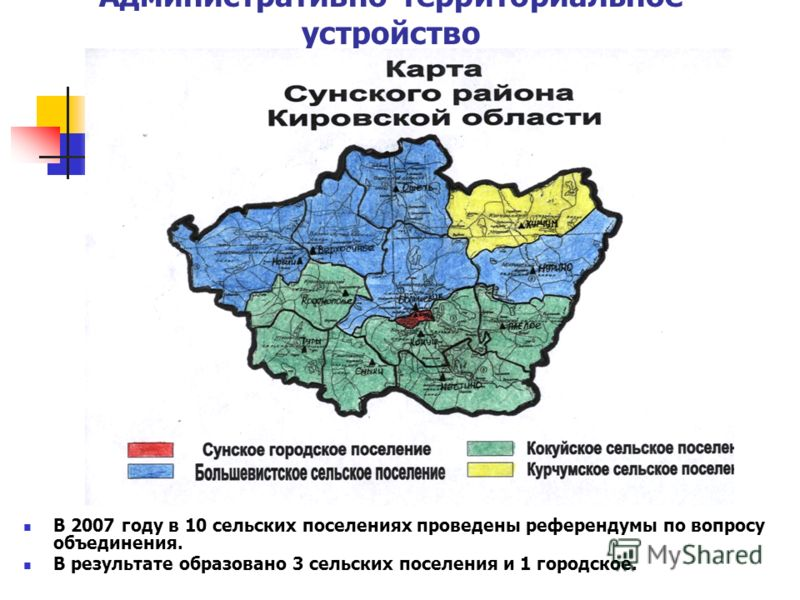 Административно-территориальное устройство В 2007 году в 10 сельских поселениях проведены референдумы по вопросу объединения. В результате образовано 3 сельских поселения и 1 городское.