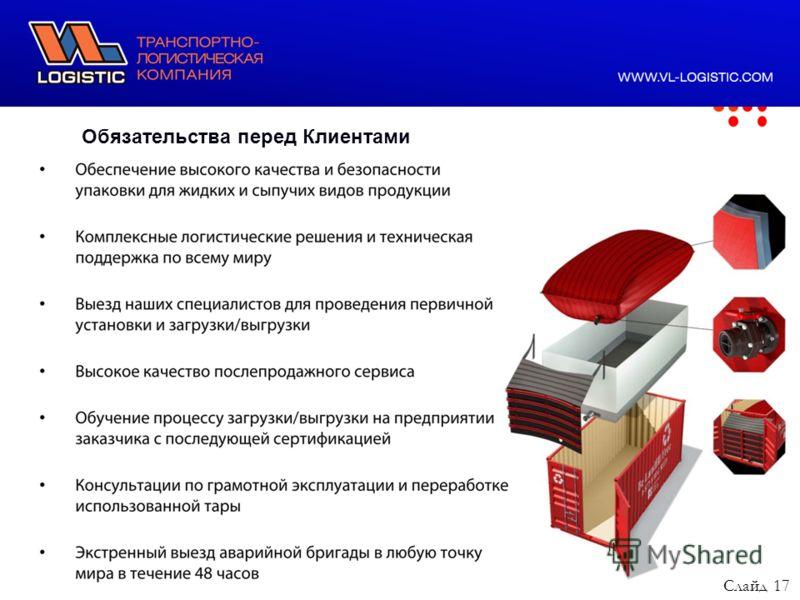 ООО ВЛ Лоджистик, 2011 год Обязательства перед Клиентами Слайд 17