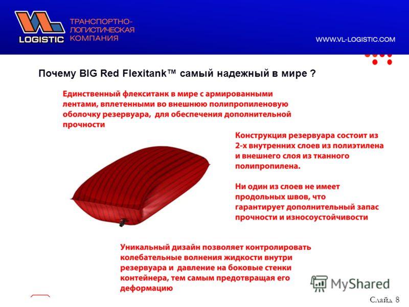 ООО ВЛ Лоджистик, 2011 год Почему BIG Red Flexitank самый надежный в мире ? Слайд 8