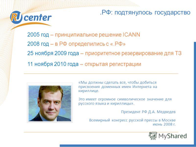 .РФ: подтянулось государство 2005 год – принципиальное решение ICANN 2008 год – в РФ определились с «.РФ» 11 ноября 2010 года – открытая регистрации «Мы должны сделать все, чтобы добиться присвоения доменных имен Интернета на кириллице. Это имеет огр