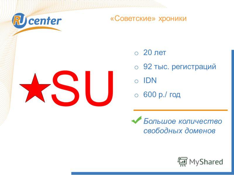 Как работает домен TEL? «Советские» хроники SU o 20 лет o 92 тыс. регистраций o IDN o 600 р./ год Большое количество свободных доменов