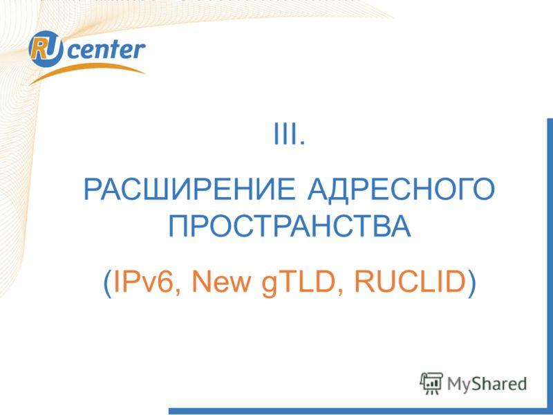 III. РАСШИРЕНИЕ АДРЕСНОГО ПРОСТРАНСТВА (IPv6, New gTLD, RUCLID)