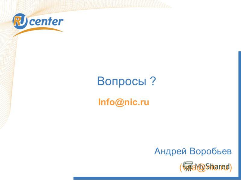 20 Вопросы ? Не делегированы продажа РБК highway Info@nic.ru Андрей Воробьев (vаа@nic.ru)