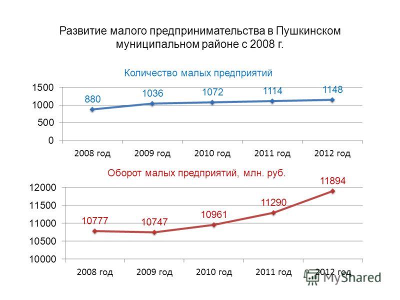 Развитие малого предпринимательства в Пушкинском муниципальном районе с 2008 г.