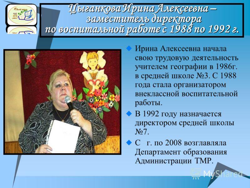 Цыганкова Ирина Алексеевна – заместитель директора по воспитальной работе с 1988 по 1992 г. Ирина Алексеевна начала свою трудовую деятельность учителем географии в 1986г. в средней школе 3. С 1988 года стала организатором внеклассной воспитательной р