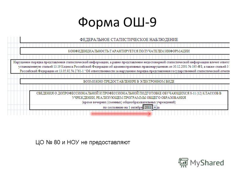 Форма ОШ-9 ЦО 80 и НОУ не предоставляют