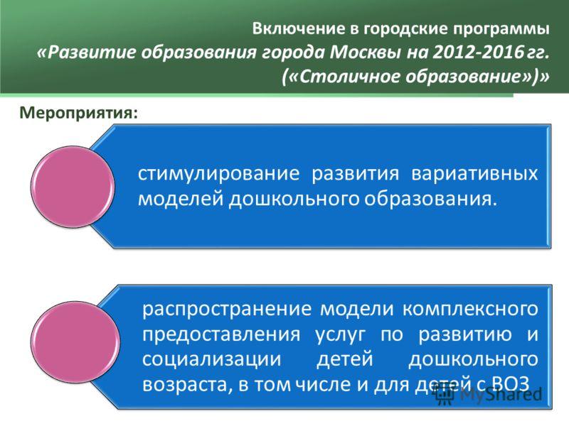 Включение в городские программы «Развитие образования города Москвы на 2012-2016 гг. («Столичное образование»)» Мероприятия: стимулирование развития вариативных моделей дошкольного образования. распространение модели комплексного предоставления услуг