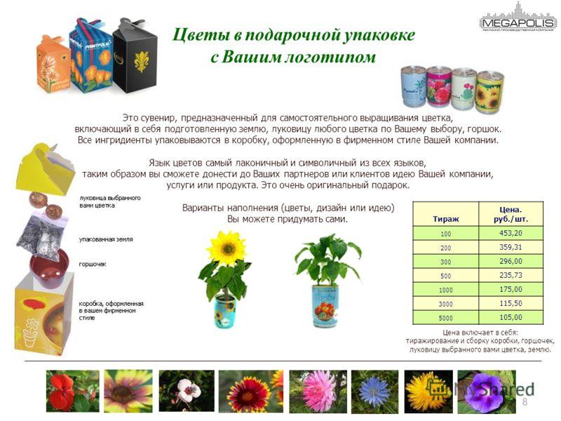 8 8 Это сувенир, предназначенный для самостоятельного выращивания цветка, включающий в себя подготовленную землю, луковицу любого цветка по Вашему выбору, горшок. Все ингридиенты упаковываются в коробку, оформленную в фирменном стиле Вашей компании.