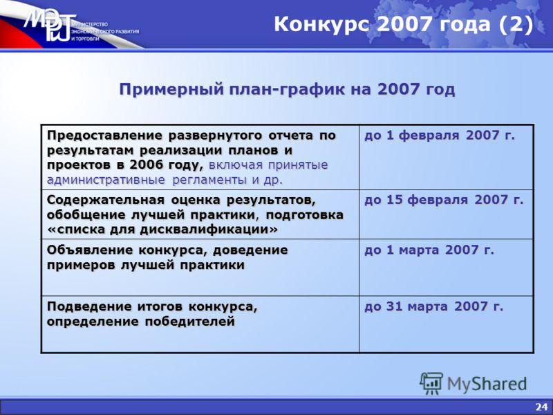 24 Конкурс 2007 года (2) Примерный план-график на 2007 год Предоставление развернутого отчета по результатам реализации планов и проектов в 2006 году, включая принятые административные регламенты и др. до 1 февраля 2007 г. Содержательная оценка резул