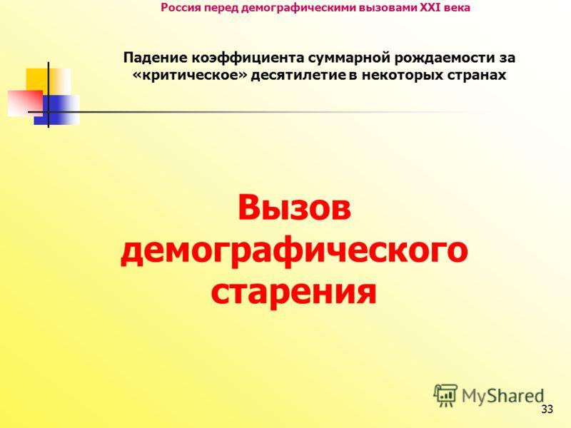 33 Россия перед демографическими вызовами XXI века Падение коэффициента суммарной рождаемости за «критическое» десятилетие в некоторых странах Вызов демографического старения