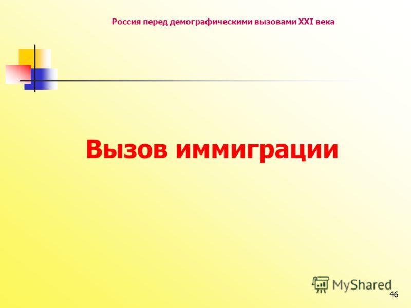 46 Россия перед демографическими вызовами XXI века Вызов иммиграции