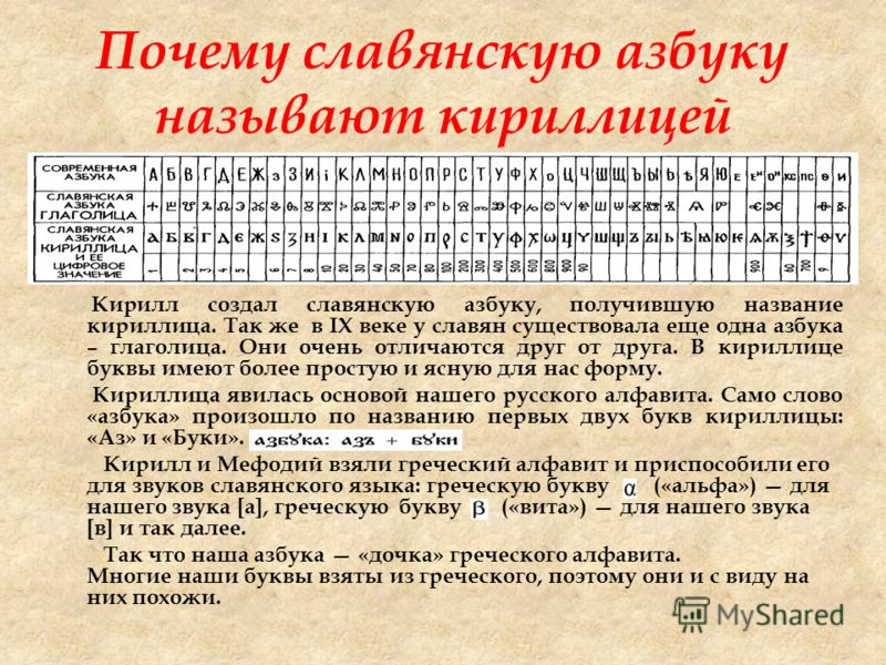 Кирилл создал славянскую азбуку, получившую название кириллица. Так же в IX веке у славян существовала еще одна азбука – глаголица. Они очень отличаются друг от друга. В кириллице буквы имеют более простую и ясную для нас форму. Кириллица явилась осн