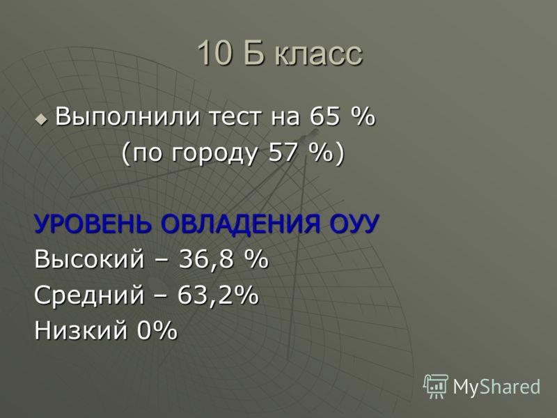 10 Б класс Выполнили тест на 65 % Выполнили тест на 65 % (по городу 57 %) (по городу 57 %) УРОВЕНЬ ОВЛАДЕНИЯ ОУУ Высокий – 36,8 % Средний – 63,2% Низкий 0%
