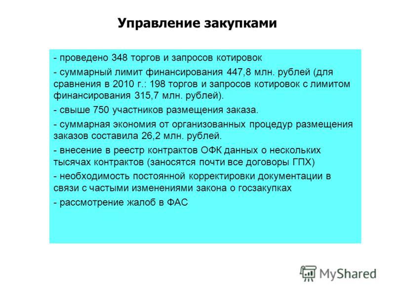- проведено 348 торгов и запросов котировок - суммарный лимит финансирования 447,8 млн. рублей (для сравнения в 2010 г.: 198 торгов и запросов котировок с лимитом финансирования 315,7 млн. рублей). - свыше 750 участников размещения заказа. - суммарна