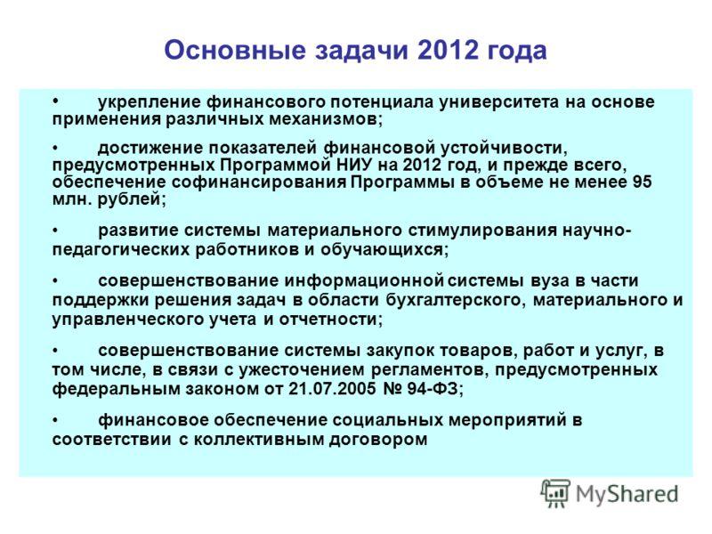 Основные задачи 2012 года укрепление финансового потенциала университета на основе применения различных механизмов; достижение показателей финансовой устойчивости, предусмотренных Программой НИУ на 2012 год, и прежде всего, обеспечение софинансирован