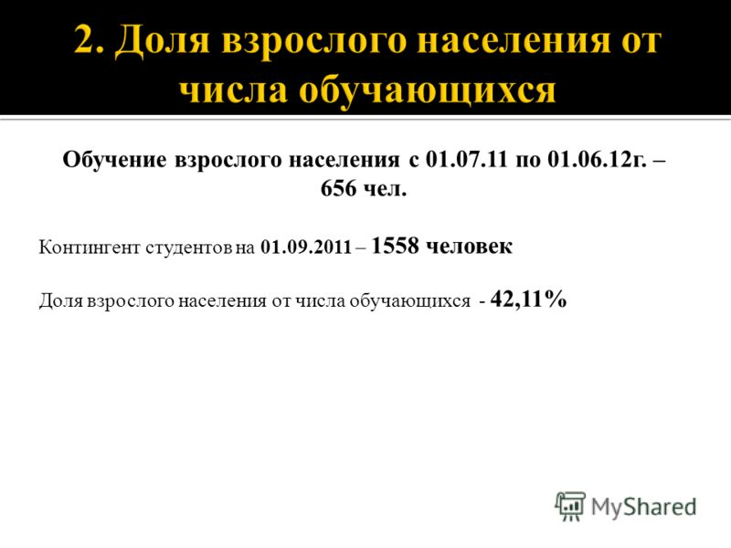 Обучение взрослого населения с 01.07.11 по 01.06.12г. – 656 чел. Контингент студентов на 01.09.2011 – 1558 человек Доля взрослого населения от числа обучающихся - 42,11%