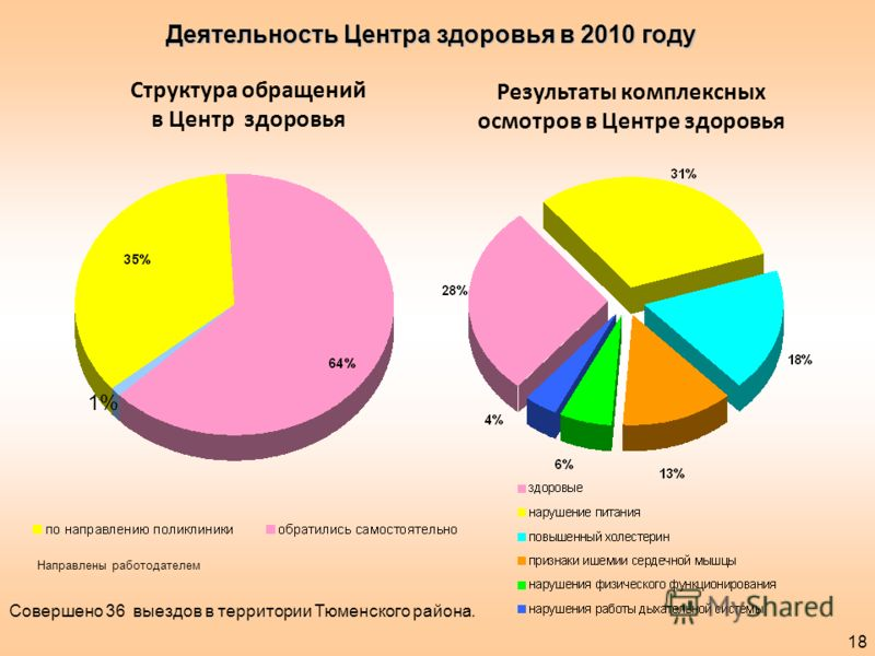 Структура обращений в Центр здоровья Результаты комплексных осмотров в Центре здоровья Деятельность Центра здоровья в 2010 году 18 1% Направлены работодателем Совершено 36 выездов в территории Тюменского района.
