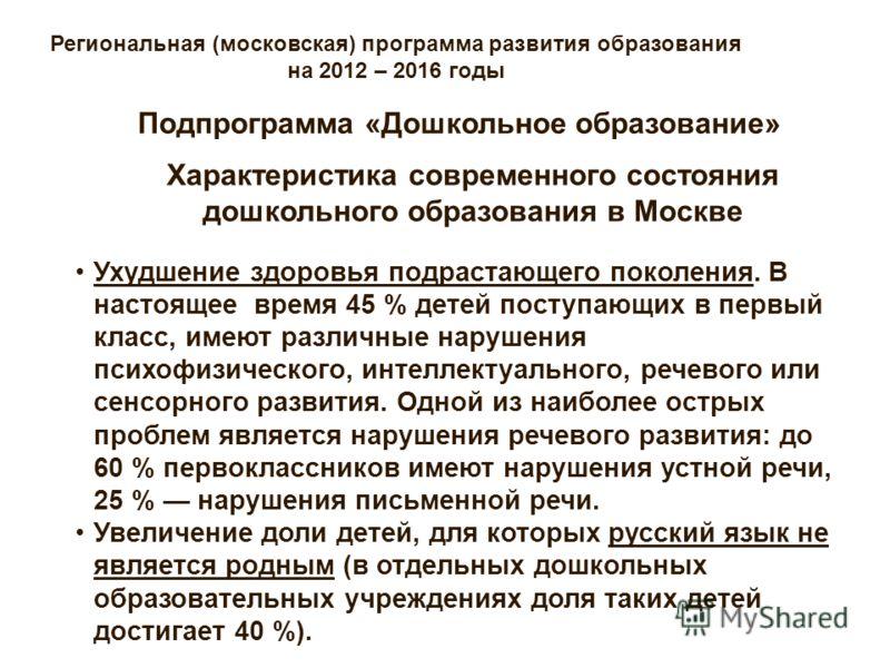 Региональная (московская) программа развития образования на 2012 – 2016 годы Характеристика современного состояния дошкольного образования в Москве Подпрограмма «Дошкольное образование» Ухудшение здоровья подрастающего поколения. В настоящее время 45