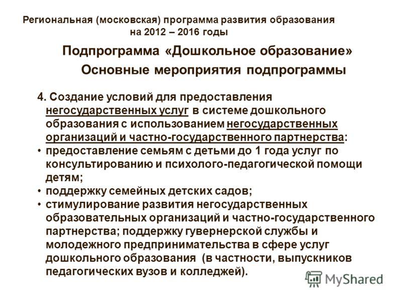 Региональная (московская) программа развития образования на 2012 – 2016 годы Основные мероприятия подпрограммы Подпрограмма «Дошкольное образование» 4. Создание условий для предоставления негосударственных услуг в системе дошкольного образования с ис