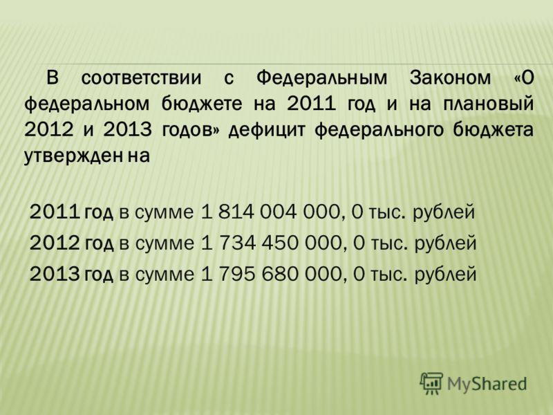 В соответствии с Федеральным Законом «О федеральном бюджете на 2011 год и на плановый 2012 и 2013 годов» дефицит федерального бюджета утвержден на 2011 год в сумме 1 814 004 000, 0 тыс. рублей 2012 год в сумме 1 734 450 000, 0 тыс. рублей 2013 год в
