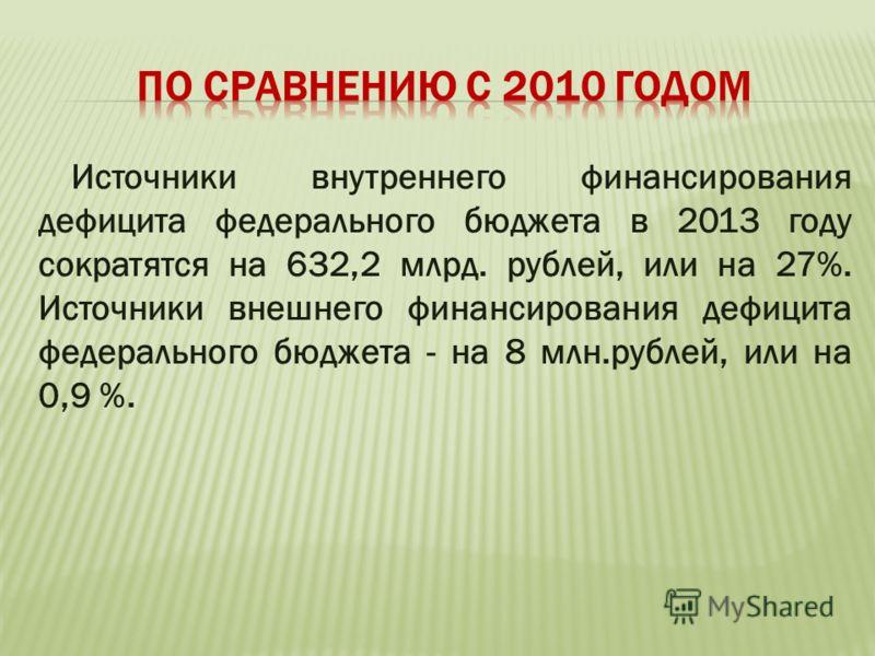 Источники внутреннего финансирования дефицита федерального бюджета в 2013 году сократятся на 632,2 млрд. рублей, или на 27%. Источники внешнего финансирования дефицита федерального бюджета - на 8 млн.рублей, или на 0,9 %.
