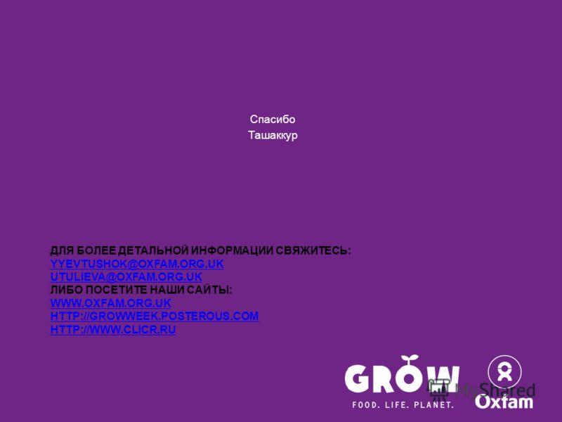 ДЛЯ БОЛЕЕ ДЕТАЛЬНОЙ ИНФОРМАЦИИ СВЯЖИТЕСЬ: YYEVTUSHOK@OXFAM.ORG.UK UTULIEVA@OXFAM.ORG.UK ЛИБО ПОСЕТИТЕ НАШИ САЙТЫ: WWW.OXFAM.ORG.UK HTTP://GROWWEEK.POSTEROUS.COM HTTP://WWW.CLICR.RU YYEVTUSHOK@OXFAM.ORG.UK UTULIEVA@OXFAM.ORG.UK WWW.OXFAM.ORG.UK HTTP:/