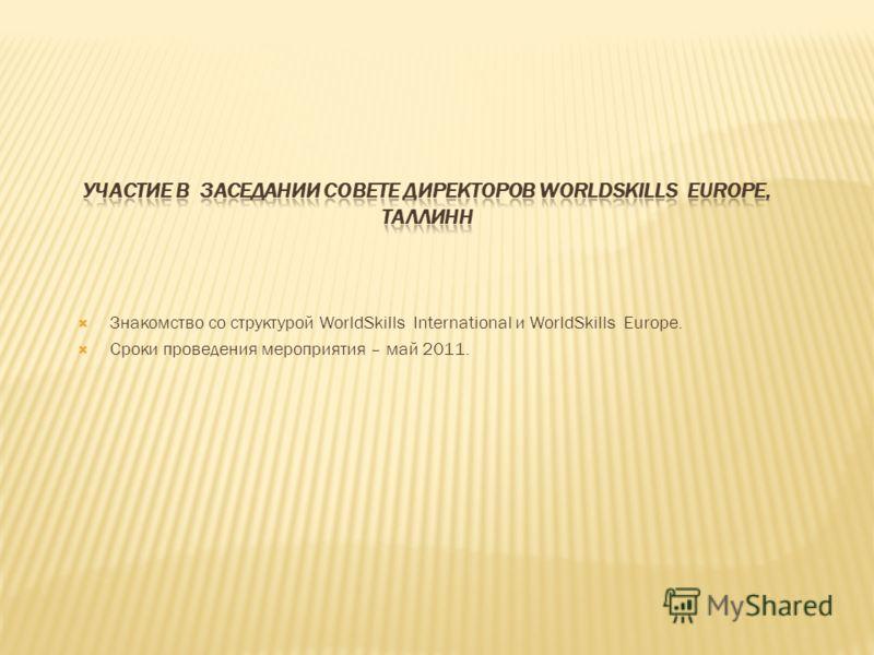 Знакомство со структурой WorldSkills International и WorldSkills Europe. Сроки проведения мероприятия – май 2011.