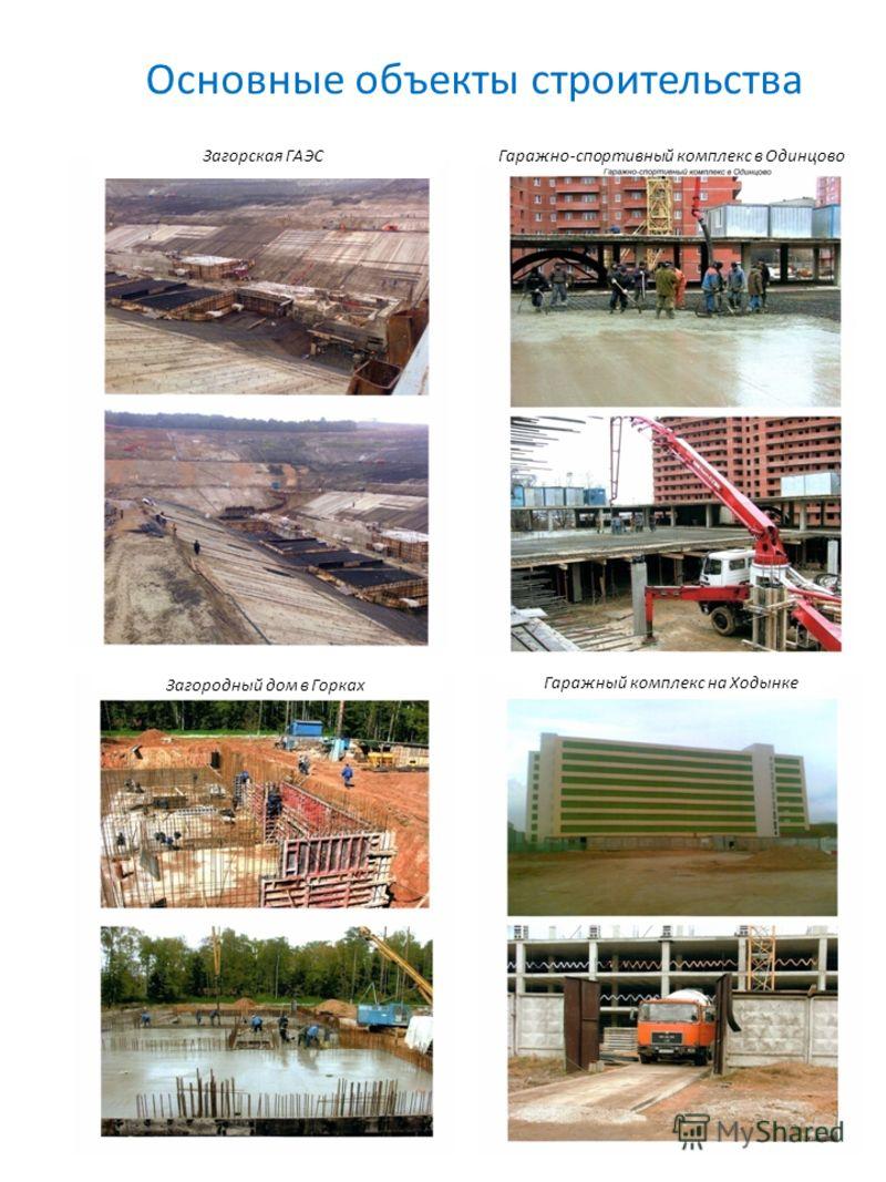 Основные объекты строительства Загорская ГАЭС Загородный дом в Горках Гаражно-спортивный комплекс в Одинцово Гаражный комплекс на Ходынке
