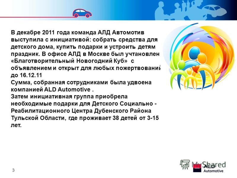 3 В декабре 2011 года команда АЛД Автомотив выступила с инициативой: собрать средства для детского дома, купить подарки и устроить детям праздник. В офисе АЛД в Москве был учтановлен «Благотворительный Новогодний Куб» с объявлением и открыт для любых