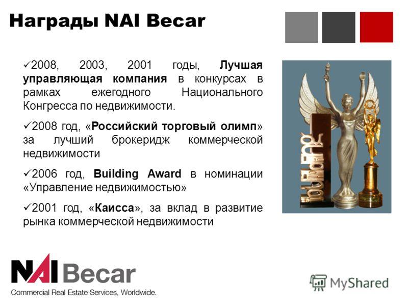 Награды NAI Becar 2008, 2003, 2001 годы, Лучшая управляющая компания в конкурсах в рамках ежегодного Национального Конгресса по недвижимости. 2008 год, «Российский торговый олимп» за лучший брокеридж коммерческой недвижимости 2006 год, Building Award