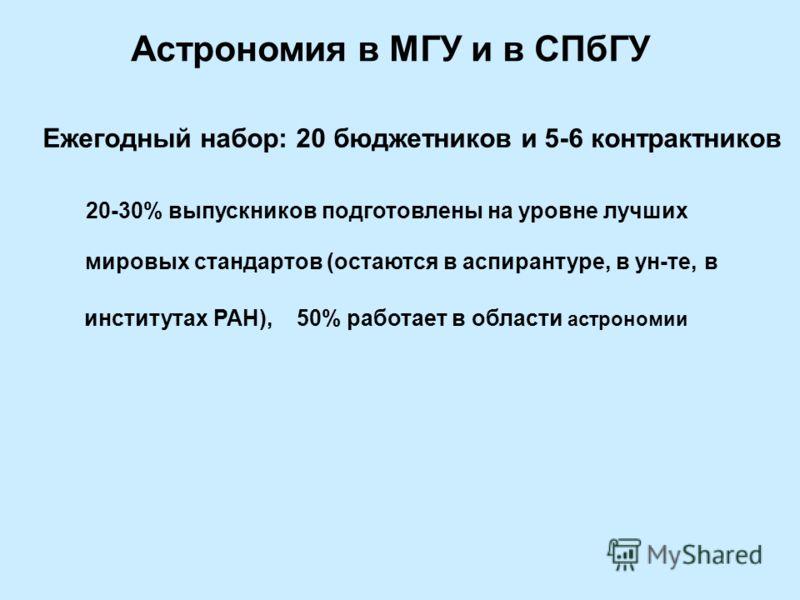 Астрономия в МГУ и в СПбГУ Ежегодный набор: 20 бюджетников и 5-6 контрактников 20-30% выпускников подготовлены на уровне лучших мировых стандартов (остаются в аспирантуре, в ун-те, в институтах РАН), 50% работает в области астрономии
